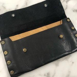 Black Wallet women leather Cash Envelope